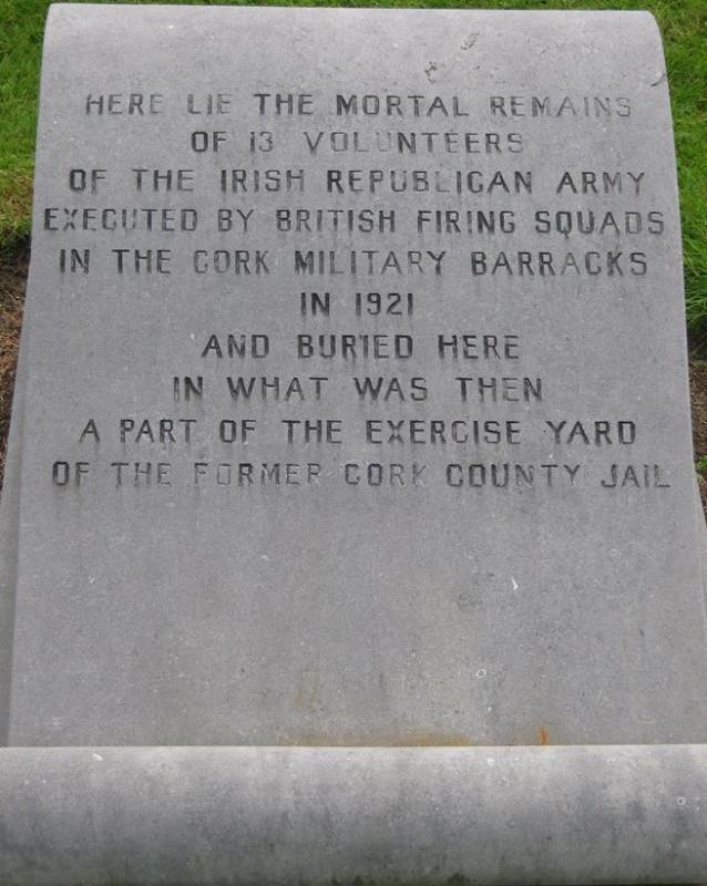 2015-02-01 Memorial Plaque to those executed at Cork Military Jail in 1921 - includes Captain Con Murphy