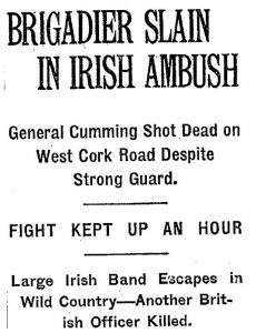 1921-03-07 Front Page of the New York Times - Report on Clonbanin Ambush