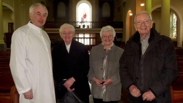 Pictured this morning at St. Patrick's Church, Millstreet with Canon John Fitzgerald - members of the Corkery Family - from left - Sr. Rupert, Eily Buckley and Brother Vincent Corkery (presently on an Irish visit from his wonderful work of over 60 years in Malaysia.)   Click on the image to enlarge.  (S.R.)