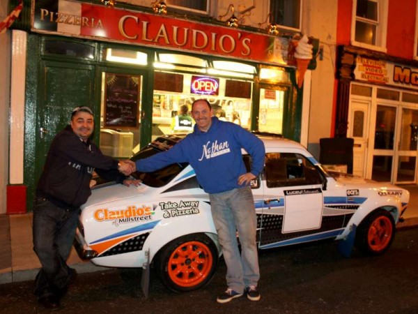 Claudio of Claudio's in The Square, Millstreet - one of the main Sponsors - wishes Daniel Lucey, Rally Driver supreme who with the gifted Navigator, Derry Healy, will be participating in this St. Patrick's Weekend West Cork Rally 2014.   Every success to the enthusiastic team.  Click on the images to enlarge.  (S.R.)