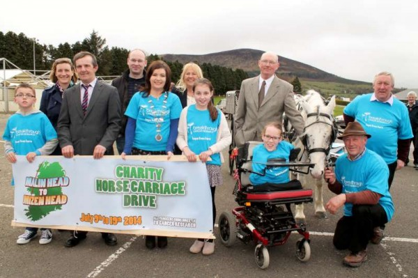 "On Sunday at Green Glens, Millstreet the official launch of the upcoming Charity Horse Carriage Drive from Mizen to Malin took place.   Joanne O'Riordan is the chosen Ambassador who expressed ""complete confidence in Dan Joe"" as she received her first drive in the very impressive horse carriage.   Click on the images to enlarge.  (S.R.)"