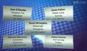 2014-03-22 Line up for this weekend's Winning Streak - Joan O'Riordan, Murphy's Terrace