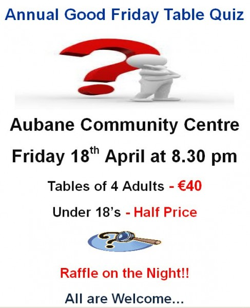 2014-04-09 Aubane Good Friday Quiz - poster