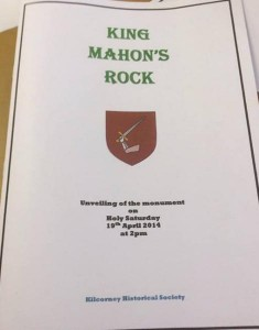 2014-04-19 Booklet for the unveiling of the monument at King Mahon's Rock - front page
