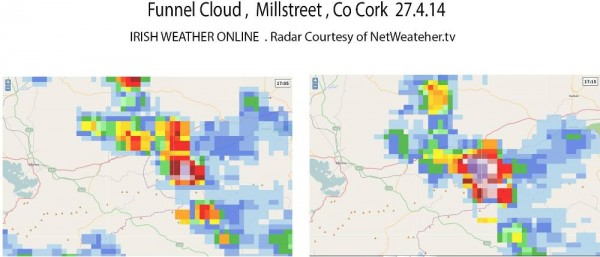 2014-04-27 Rainfall Radar at the time of the Funnel Cloud - from netweather