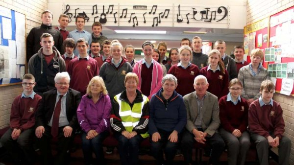 Three members of Millstreet Tidy Towns Association visited Millstreet Community School today where Noreen Dennehy (front row in hi-viz jacket) addressed the Transition Year Students who are enthusiastic in their support for the various Tidy Town projects.  Click on the images to enlarge.  (S.R.)