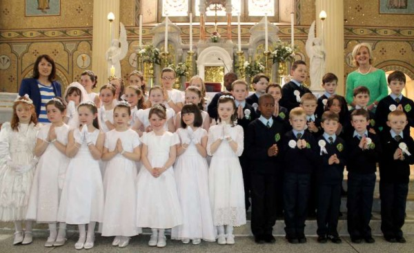 Blessed with glorious weather the annual First Holy Communion ceremony took place at St. Patrick's Church, Millstreet this morning.  We shall have lots more pictures to follow later.  Click on the image to enlarge.  (S.R.)