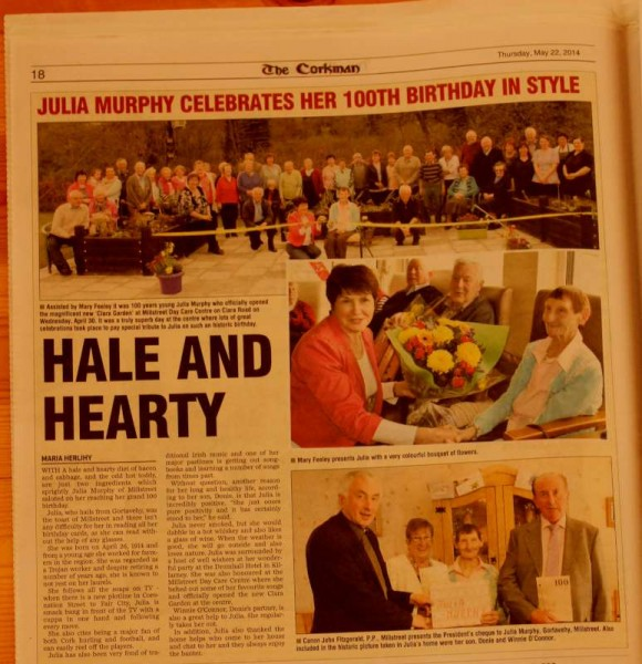 "One Hundred Years young, Julia Murphy features in this week's ""Corkman"" which includes a selection our our photographs which we already shared on our Millstreet website.  Great to see Julia and Millstreet Day Care Centre receiving such wonderful coverage.  Click on the newspaper page to enlarge.  (S.R.)"