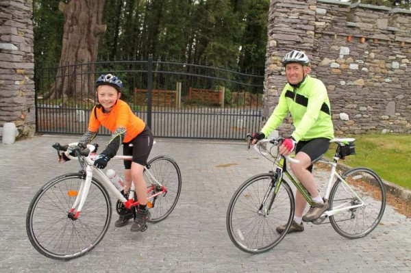 Josh O'Sullivan from Ballydaly with his father, John on a Sunday cycle pictured on Drishane Road, Millstreet.  The gifted father and son cyclists are truly inspiring in regard to their enthusiasm for this marvellous sport.   John is also superbly involved in the sports of Taekwon-Do  and Swimming.   Click on the images to enlarge.  (S.R.)