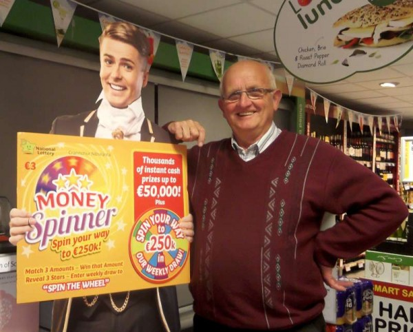 While Brian Ormond is concern to promote the National Lottery - Millsteet's Jerry Lehane emphasises the great success and importance of our Local Weekly Lotto with which Jerry has been so dedicatedly involved for many years.  Click on the images to enlarge.  (S.R.)