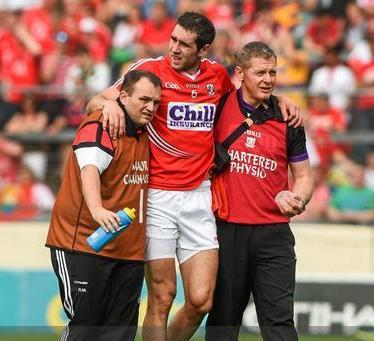 2014-06-15 Mark Ellis is helped off due to injury near the end of the Cork v Clare Munster Senior Hurling SemiFinal