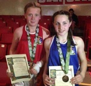 2014-06-19 Chloe Barrett and Megan Lehane after winning their All Ireland Boxing titles at the National Stadium Tallaght