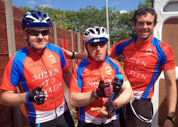 2014-06-20 Aidan, Gerry and Tony who stopped in Millstreet this evening on their 24 hour Mizen to Malin cycle in aid of MS Ireland