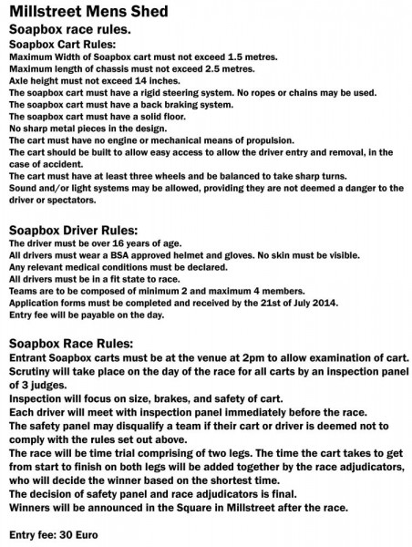 2014-07-27 Millstreet Men's Shed Soapbox race - rules