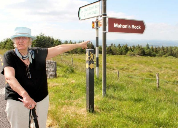 "Renowned Travel Writer Mary Russell from Dublin during her walk on the famous Butter Road on Friday, 20th June 2014.  We feature just two images of a full and comprehensive feature later on this remarkable ""Irish Times"" contributor and frequent RTÉ broadcaster whom we were privileged to have guided in the Millstreet area on Friday.  Click on the pictures to enlarge.  (S.R.)"