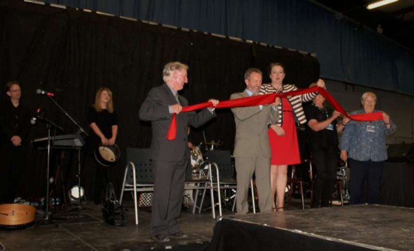 Seán Kelly, MEP cuts the ribbon to mark the official opening of the European Pony Championships 2014.   With the many participating countries assembling  at Green Glens Arena on Tuesday evening, 29th July 2014 it was a truly spectacular occasion.  Click on the images to enlarge.  (S.R.)