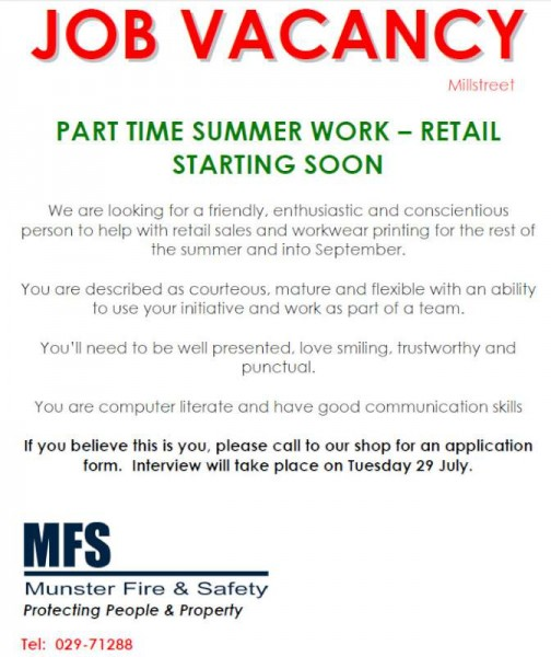 2014-07-23 job - part time summer work at MFS