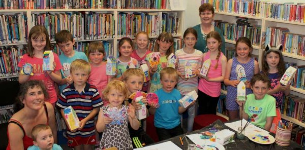 """Birds and Bird Houses"" has been this year's theme for the hugely popular Millstreet Library Summer Arts Workshop presented by Artist, Amanda Wright (on left) and coordinated by Librarian, Breda O'Leary.   Here we view the wonderfully talented children with some of their beautiful artistic creations on Wednesday, 23rd July 2014.  Click on the images to enlarge.  (S.R.)"