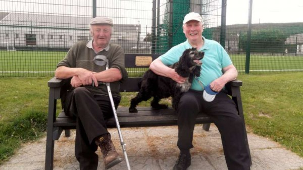 Denis and Dan with their loyal pet dog comment on  the superb ongoing developments in Millstreet Town Park as Patrick and Tony give a wonderfully fresh new look to the Park Gates and maintain the vast grass area in a splendid manner.  Click on the images to enlarge.  (S.R.)