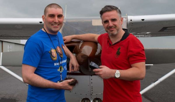 JP Randles (Galway Flying Club) with John McGuire (Fat Tony's Barber Shop) after The Mile High Shave.