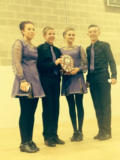 Sincere congratulations to Patrick O'Callaghan (pictured 4th from l eft) from Millstreet who danced at the All-Ireland Fleadh Cheoil in Sligo and won the prestigious All-Ireland Award in the Under-18 Half Set with his three other wonderfully talented friends - Kelly O'Sullivan, Conor Coffey and Niamh McSweeney from Kilcummin, Co. Kerry.   Very special thanks to John, Mary and Adrian Moriarty for their superbly dedicated training throughout the year.  We thank Margaret O'Callaghan of Claramore, Millstreet for the appreciated picture and the information.  Click on the image to enlarge.