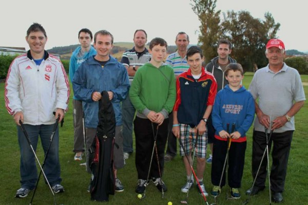 With Shane Browne almost getting a hole-in-one in the Two Ball Scramble at Millstreet Pitch & Putt Course on Monday evening, the willing teams included Colin Murphy with Con Buckley and Simon Murphy with Shane Browne.   Pictured here are the enthusiastic participants.   Click on the images to enlarge.  (S.R.)