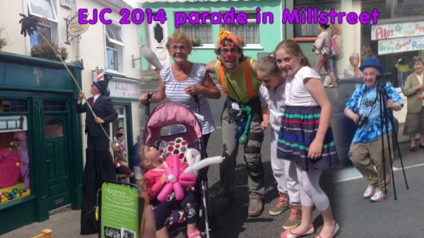 One of the wonderfully uplifting memories of this summer's EJC2014 in Millstreet appear on a new In-Shop Television Channel at Reen's Pharmacy in Main Street, Millstreet.  We thank Mairéad for sharing this splendid pictorial montage of such a very happy Parade of International (and local!) Jugglers through Millstreet Town in July.  Click on the image to enlarge.  (S.R.)