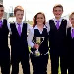 Tadhg O Sullivan, Killian Linehan, Sarah Dennehy, Darren Kiely & Daniel O Callaghan  memembers of Freemount Comhaltas with the U18 Groupa Ceoil  Cup.-1000