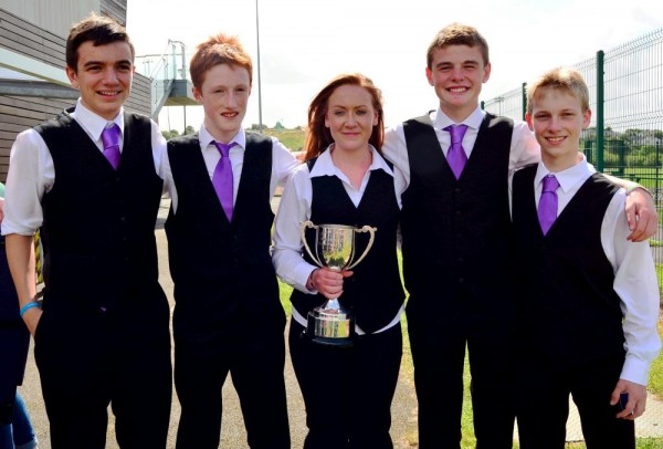 Tadhg O Sullivan, Killian Linehan, Sarah Dennehy, Darren Kiely & Daniel O Callaghan  memembers of Freemount Comhaltas with the U18 Groupa Ceoil  Cup.-1000