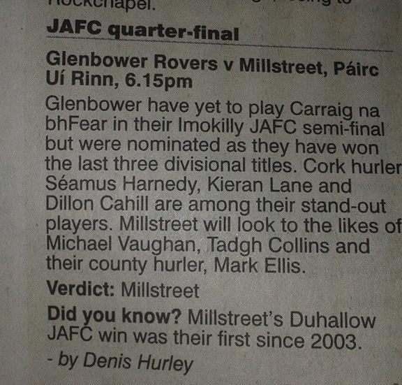 2014-09-19 Millstreet v Glenbower, prediction from the examiner