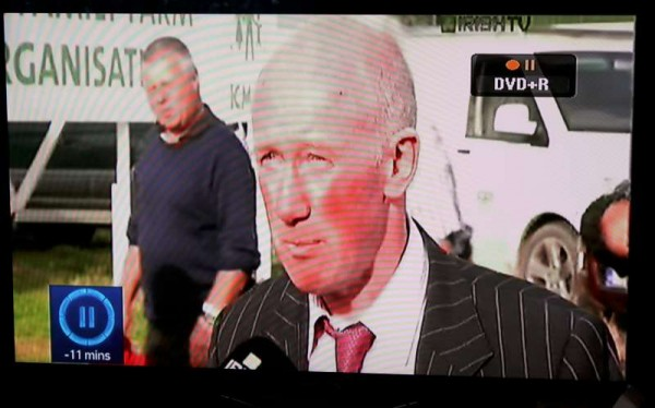 That's Eddie Casey from Cloghoula passing behind the interviewee on Irish TV which broadcast live for several hours of the three-day event - excellent coverage really.  Eddie's son is also seen passing (below).