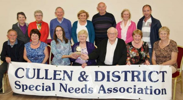 "We thank Sheila Fitzgerald for the excellent photograph and the following caption:  Cullen and District Special Needs Association honoured it's two founder members last Monday night with a get together at the local Community Hall. The event was organised to mark the couple's 50th Wedding Anniversary, and their fellow members presented them with a commemorative plaque and a decorative anniversary cake Kathleen and Geff O Sullivan established the Special Needs Association 35 years ago and in the initial years held fundraising Vintage Shows at their own home. This event was relocated to the local Sports Grounds in later years and the subsequently named annual Harvest Day has always been a great success for the Club while the Weigh In during the Winter/Spring months is one of their major fundraisers. Secretary Moira O Keeffe told the Corkman that Kathleen and Geff  were ""outstanding"" and worked extremely hard at every event throughout the 35 years. ""We only had to ring and ask for anything and it was done"" Moira said, and this was indorsed by all those present. Monies raised by the Association go to Cope Kanturk, Mallow, and Cork, St. Joseph's Foundation, Charleville, Tearman Lodge, Rathmore, and The Monastery, Killarney."""
