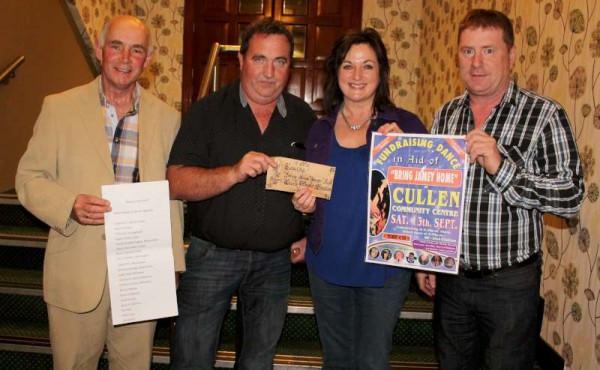 "Celebrity Singer, Louise Morrissey expressed her sincere thanks for the €1,000.00 fundraised by William Fitzgerald and his dedicated team for the ""Bring Jamie Home"" project.  At the presentation in the Gleneagle Hotel, Killarney on 28th October 2014 - from left: Barry O'Halloran and William Fitzgerald from Cork Music Station with Louise accepting the Fund on behalf of the Morrissey Family.  Jamie is now back in Ireland to continue recovery.  Click on the images to enlarge.  (S.R.)"