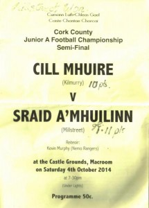 2014-10-04 Millstreet v Kilmurray - programme front page-600