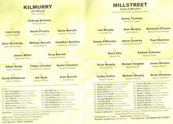 2014-10-04 Millstreet v Kilmurray - team sheets-800