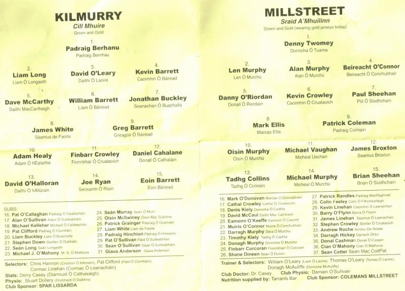 2014-10-04 Millstreet v Kilmurray - team sheets-800