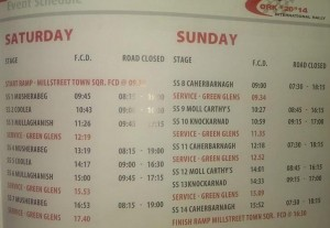 2014-10-04 Stage Times for the Cork 20