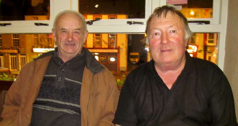 Denis Taylor and Michael Kelleher meet at Wallis Arms