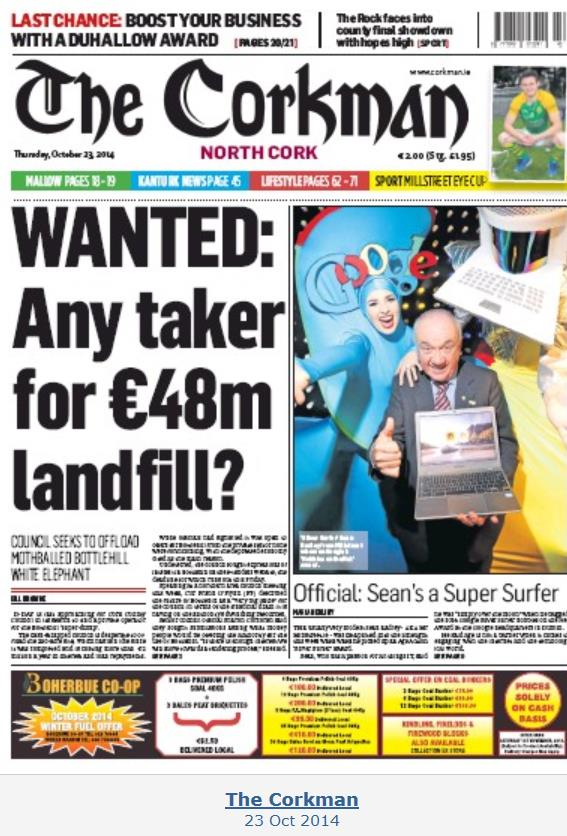 2014-10-23 The Corkman Front Page - Sean Radley