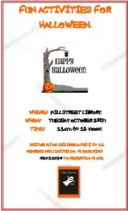 2014-10-28 Fun Activities for Halloween at Millstreet Library - poster