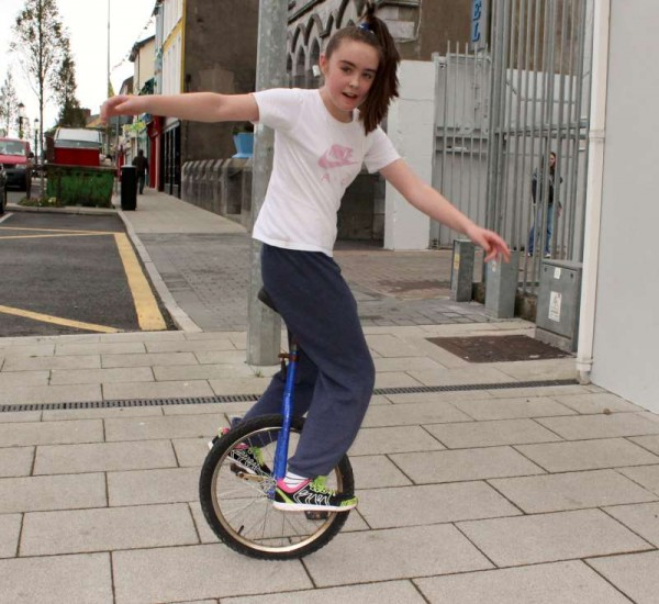 Wonderfully talented Unicyclist Andrienne from Millstreet superbly demonstrates the true spirit of EJC2014.  Click on the images to enlarge.  (S.R.)