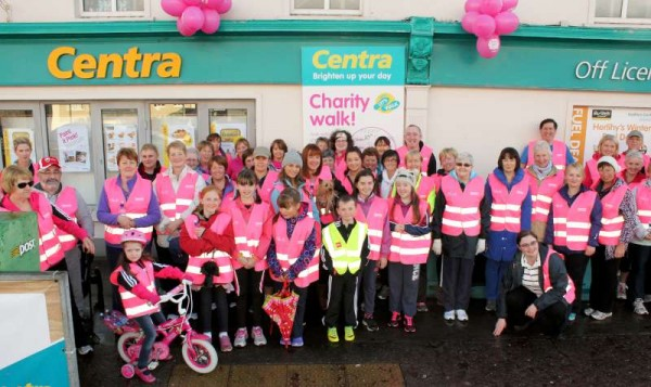 There was a great response to Friday's Centra Charity Walk to aid the Irish Cancer Society.   Blessed with excellent weather the large group in their pink high viz jackets proceeded around the Glebe Route.  On returning they were treated to lots of delicious refreshments.  Many more pictures to follow later.  Click on the images to enlarge.  (S.R.)