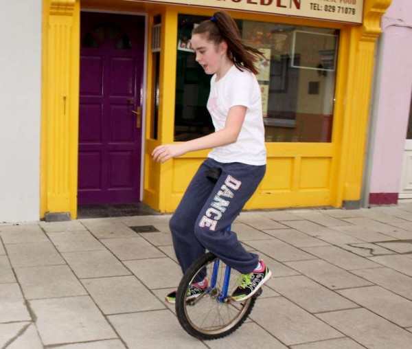 3Excellent Unicyclist  Andrienna practising at The Square, Millstreet -800
