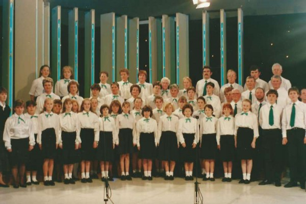 "Lots of memories evoked here as we share a very special from Millstreet Museum Archives recalling the television transmission of the famous ""Bibi"" show in the 1980s from the Gym of Millstreet Community School.  The superb augmented Choir so impressed the nation with their magnificent harmonic singing.  Click on the image to enlarge.  (S.R.)"