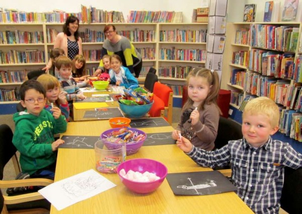 The very happy scene at Millstreet Library on Tuesday, 28th October as Halloween 2014 is creatively celebrated.  Click on the image to enlarge.  (S.R.)