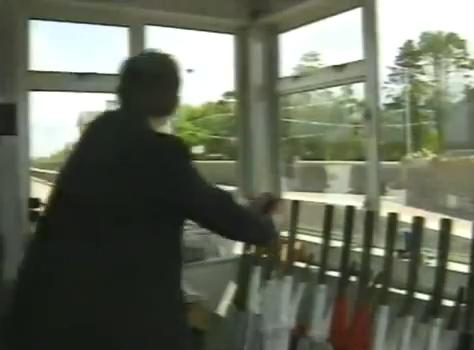 1993 - View from inside Millstreet Railway Station Signal Cabin - photo is taken from the Eurovision Broadcast