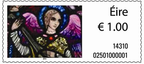 2014-11-06 An Post Christmas Stamp 2014 which is part of the Harry Clarke stained glass in St.Patricks Church Millstreet
