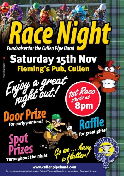2014-11-13 Cullen Pipe Band - Race night Fundraiser - poster-800
