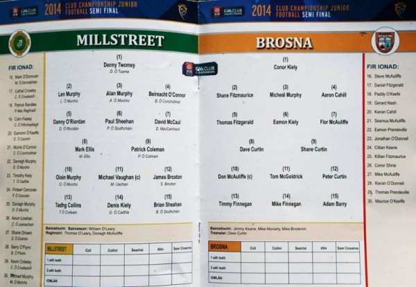 2014-11-23 Brosna v Millstreet - the teams