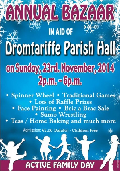 2014-11-23 DROMTARIFFE PARISH HALL - ANNUAL BAZAAR - poster